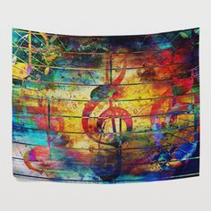 Watercolor Music Note Tapestry Wall Hanging Colorful Abstract Art for... ($30) ❤ liked on Polyvore featuring home, home decor, wall art, outdoor home decor, welcome wall art, treble clef wall art, outside wall art and outdoor wall hanging
