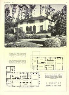 Vintage House Plans, Modern House Plans, House Floor Plans, Vintage Houses, Vintage Ads, Villa Design, Facade Design, House Design, Revival Architecture