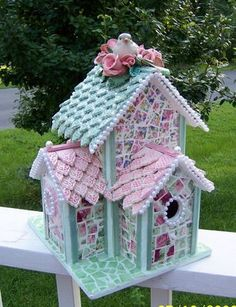 Shabby chic bird house ~ too pretty to not include ; Mosaic Crafts, Mosaic Art, Bird Cages, Bird Feeders, Mosaic Birdbath, Mosaic Birds, Shabby Chic Homes, Fairy Houses, Little Houses