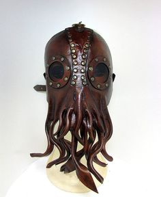 Steampunk Cthulhu Mask , unique leather squid lovecraft, with brown acrylic lenses, tentacles, tooled with brass rivets and buckle.