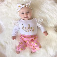2017 baby girl clothes Flower letter Pattern long sleeve Bodysuit + Gold dots pants suit newborn baby girl clothing set - Kid Shop Global - Kids & Baby Shop Online - baby & kids clothing, toys for baby & kid Cute Outfits For Kids, Toddler Girl Outfits, Cute Kids, Baby Outfits, Summer Outfits, Baby Girl Romper, Baby Girl Newborn, Baby Girls, Infant Girls