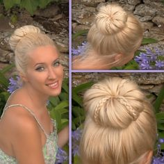 Rolled bun with braided decorations tutorial for long and medium hair  www.youtube.com/...