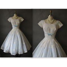 50's Flocked Dress // Vintage 1950's Flocked Chiffon Blue Ivory Shelf Bust Prom Wedding Party Dress XS S