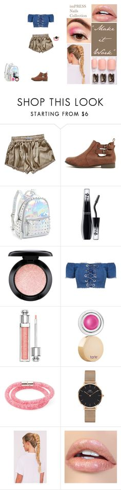 """imPRESS Nails™ Collection- ""Make it Work"""" by fantasy-luv ❤ liked on Polyvore featuring Bari Lynn, Lancôme, MAC Cosmetics, Christian Dior, tarte, Swarovski, Daniel Wellington, nails, cute and metallic"