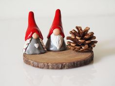 Gnome figurines - Two Christmas gnomes - Christmas decorations - Nordic Christmas - Scandinavian decor - Tomte - Clay gnomes - Scandi decor by paintmydream