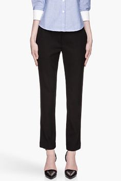 BAND OF OUTSIDERS Black virgin wool cropped Straight Trousers