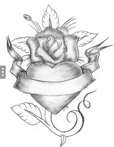 ▷ 1001 + ideas and inspirations for pictures to draw - drawing for beginners, heart in combination with rose and floral motifs - Tattoo Design Drawings, Pencil Art Drawings, Art Drawings Sketches, Pretty Drawings, Love Drawings, Easy Drawings, Drawings Of Hearts, Cool Heart Drawings, Valentine Drawing