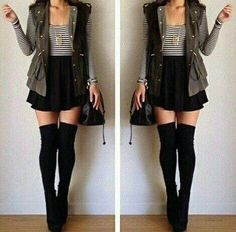20 Style Tips On How To Wear Thigh-High Socks - Gurl. com 20 Style Tips On How To Wear Thigh-High Socks - Gurl. Cute Fashion, Teen Fashion, Korean Fashion, Winter Fashion, Fashion Outfits, Womens Fashion, Skirt Fashion, Fashion 2014, Fashion Images