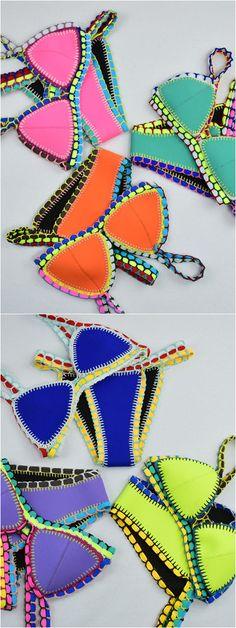 Hot Sale Multicolors Neo Crochet Bikini Suit at Stayingsummer.com