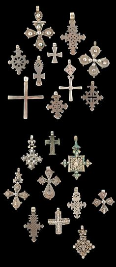Ethiopia | 20 Silver Pendant Crosses | 2 lots of 10 each; Top) 180€ and Bottom) 280€ ~ Sold (June/08)