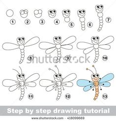 Drawing tutorial for children. How to draw the funny dragonfly.