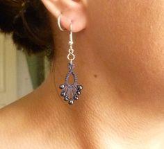 Tatted Earrings in Dark Gray Tatting Flash Drips by SnappyTatter, $7.50