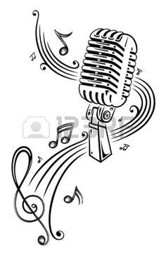 Noten, Musik, Mikrofon Stockfoto