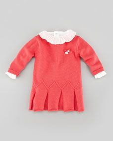 Knit Dress with Pleated Hem, Pink, 3-24 Months