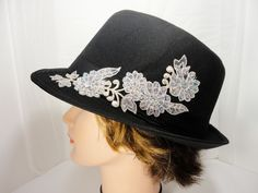 Black Fedora with Embroidered Flowers - pinned by pin4etsy.com