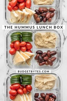 This Hummus Lunch Box is a cold lunch classic. With almost zero prep work, this is the fastest, easiest no-cook lunch around. Budgetbytes.com Easy Healthy Meal Prep, Easy Weeknight Meals, Easy Healthy Recipes, Lunch Recipes, Real Food Recipes, Vegan Recipes, Healthy Food, Hummus Flavors, Cold Lunches