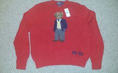 7d512fa153 Mens POLO RALPH LAUREN EXECUTIVE BEAR SWEATER Size L 2001 RARE MINT RED  STADIUM