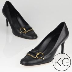 Gucci Black Leather Horsebit Chain Loafer Heels In great pre-owned condition, see photos for signs of wear. Authentic Gucci!  •Signature Gucci half horse bit buckle & golden brass chain.  •100% Italian leather •Soles show slight signs of wear from use. Creasing and signs of wear to the foot beds. Instep on right shoe has frayed edge as noted in last photo. Price reflects flaws! no trades nor lowball offers Thanks for shopping in my closet!! Gucci Shoes Heels