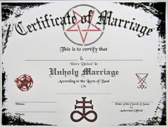 Satanic Certificate of Marriage Plus Bonus Wedding Transcript