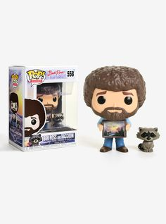 """Funko Pop! presents a stylized vinyl collectible figure of Bob Ross and a raccoon from The Joy of Painting .     If you're lucky, you may receive a 1 in 6 chase variant of Bob Ross with the owl Hoot!  Please note: Chase variants shipped at random. No guarantee of receiving chase with purchase. All sales final; no returns or exchanges.   Pop! Television 558   3 3/4""""  Vinyl  Imported  By Funko"""