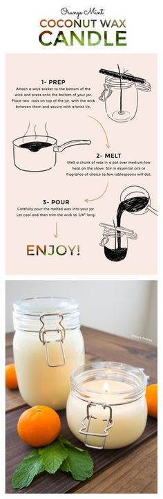 DIY / Orange Mint Coconut Wax Candle! It's so simple- can't wait to make it and smell it!