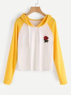 Yellow Contrast Raglan Sleeve Rose Patch Hoodie