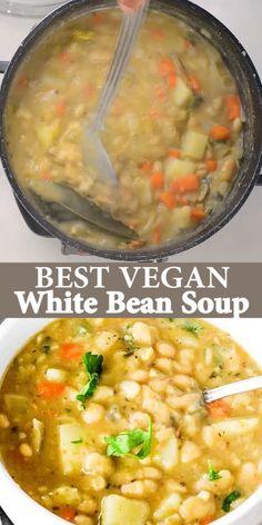 Tasty Vegetarian Recipes, Vegan Soups, Vegan Dinner Recipes, Vegan Dishes, Mexican Food Recipes, Whole Food Recipes, Cooking Recipes, Healthy Bean Soup Recipes, Vegan Barley Soup