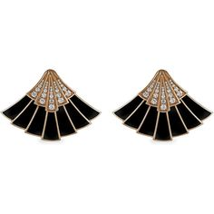 Fan Ear jackets by The Jewel Teller (24.255 BRL) ❤ liked on Polyvore featuring jewelry, earrings, accessories, rose, jewel earrings, black and gold jewelry, black and gold earrings, art deco earrings and pave earrings