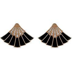 Women's Diamond Earring by The Jewel Teller Fan Ear jackets (50,480 CNY) found on Polyvore featuring women's fashion, jewelry, earrings, rose, jewel earrings, black gold jewelry, black gold earrings, rose earrings and art deco earrings