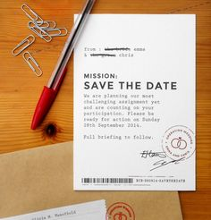 james bond wedding stationery / save the date by Catherine Ings, via Behance. Maybe add some lace or ribbon?