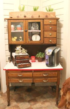 transform an antique cabinet into a coffee bar, kitchen cabinets, kitchen design, repurposing upcycling, storage ideas Bakers Cabinet, Hoosier Cabinet, China Cabinet, Liquor Cabinet, Coffee Station Kitchen, Home Coffee Stations, Bar Kitchen, Kitchen Design, Kitchen Ideas