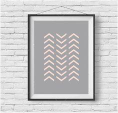 Chevron Print, Chevron Wall Art, Chevron Poster, Pink Print, Blush Print, Gray Print, Gray Wall Art, Gray Home Decor, Scandinavian Print