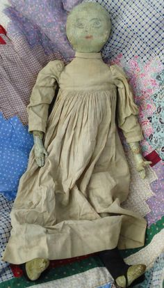 "Early 25"" Antique *Primitive Cloth Doll* circa Mid 1800's sold for $464"