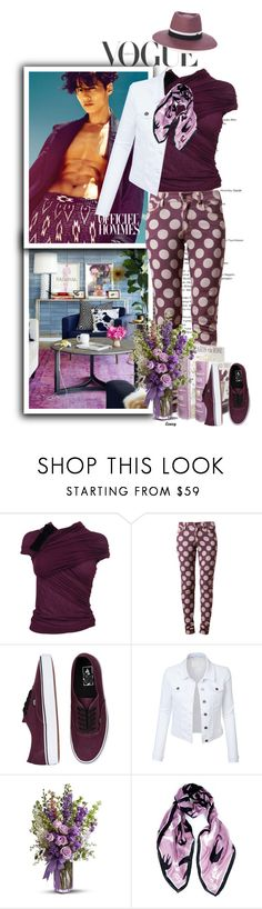 """""""A Purple Shade of Spring"""" by terrelynthomas ❤ liked on Polyvore featuring Giambattista Valli, House of Holland, Vans, LE3NO, McQ by Alexander McQueen, Maison Michel, casual, purple, denim and dots"""