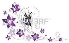 Flores de colores filigrana violeta con mariposas Foto de archivo