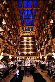Brides.com: 50 Romantic Wedding Venues in the U.S. George Peabody Library Baltimore, Maryland A library may not be an obvious party site, but this stunning cathedral of books will change your mind. Weddings take place in the Stack Room amid six stories of rare tomes and gold columns that soar to a skylight 61 feet above; peabodyevents.library.jhu.edu Browse more urban wedding venues.Photo: Courtesy of George Peabody Library