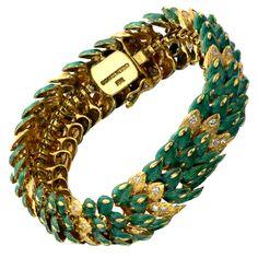 david webb 1960's bracelets   DAVID WEBB Green Enamel Diamond Yellow Gold Snake Bracelet at 1stdibs