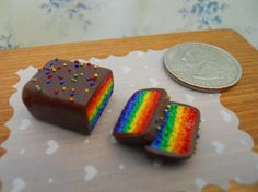 ***Sold*** Dollhouse Miniature  Rainbow Cake / Tort by TheQuirkyCurioShoppe, $5.00