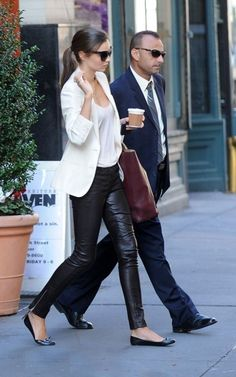 City chic style! leather pants & white blazer