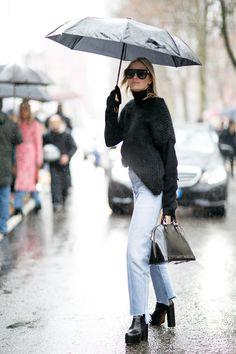 Sotto la pioggia in black -cosmopolitan.it