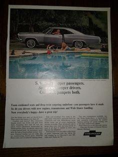 1965 Chevrolet Impala 'Hard to Find' Print Ad -Car Swimming Pool Lady Sunbathing
