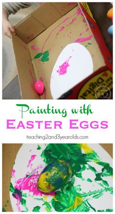 Recycle those plastic Easter eggs and a box lid for this fun toddler spring art activity! Works the entire upper body as the lid is tipped back and forth. art prek Topsy Turvy Painting with Eggs Easter Crafts For Toddlers, Crafts For 2 Year Olds, Toddler Crafts, Preschool Crafts, Baby Crafts, Spring Art Projects, Toddler Art Projects, Easter Projects, Spring Crafts
