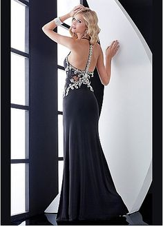 Brilliant Stretch Charmeuse Sheath Halter Neck Black  Long Prom Dress With Beadings & Lace Appliques