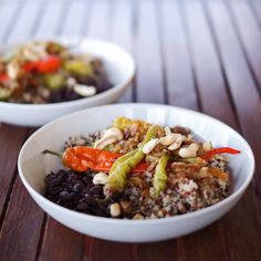 A simple but flavorful quinoa bowl with black beans and sweet peppers, made vegan, gluten-free and soy-free.
