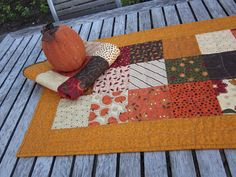 Shades of Fall Quilted Table Runner 2 by thePATchworksshop on Etsy, $35.00