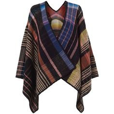 Missoni Women's Plaid Poncho (€1.150) ❤ liked on Polyvore featuring outerwear, missoni poncho, missoni, tartan poncho, plaid ponchos and wool poncho