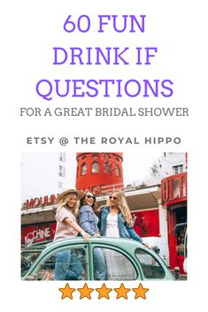 Planning a bridal shower? Grab this game pack with 60 fun drink if questions to keep the night going!