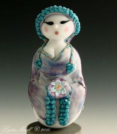 Lampwork Figure Focal Bead - Lady in Blue with Flower by Lydia Muell © shared on       FB-2015 ♥≻★≺♥