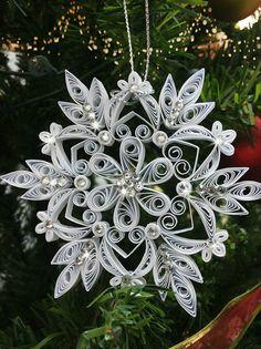 Juego de 2 x Quilling Navidad copo de nieve ornamento