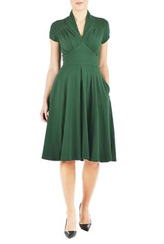 Feminine pleated cotton knit dress $69.95 AT vintagedancer.com